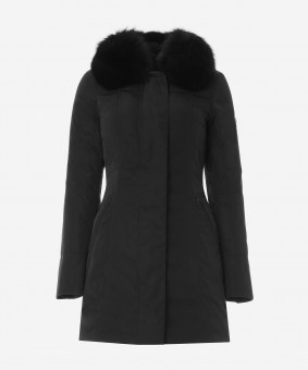 Peuterey_Woman_Coats_Slim-fit-jacket-with-fox-fur-collar_Black_PED227501181294NER_01